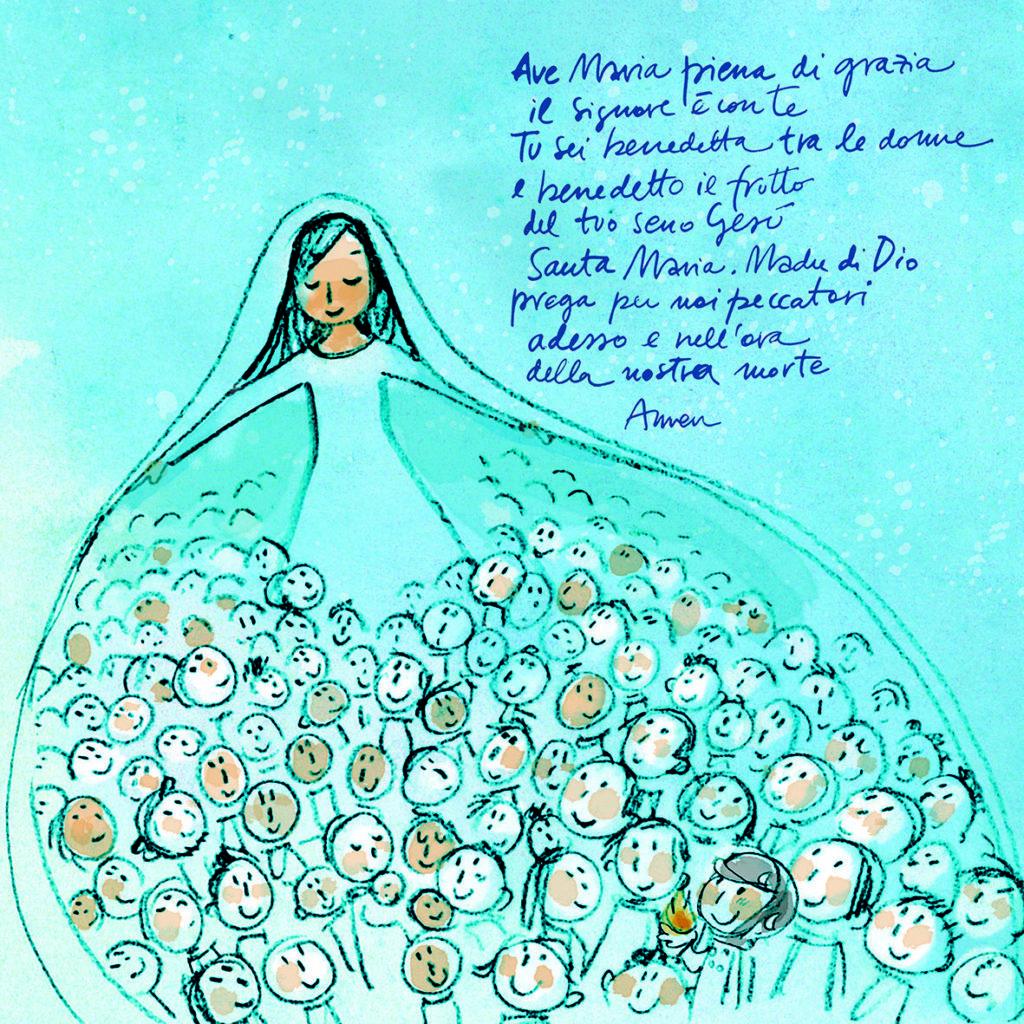 Ave Maria quadretti Rosetum disegno di Anna Formaggio